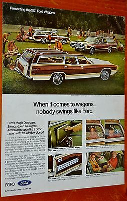 Cool 1971 Ford Country Squire Wagon Doorgate Ad - 70S Classic American Retro