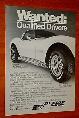 Cool Corvette Stingray With Side Pipes For 1977 Dunlop Tires Ad - Vintage 70S