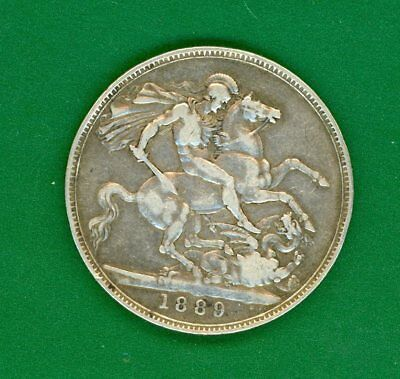 Queen Victoria  1889  Silver Crown.  Circulated Condition