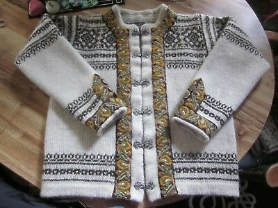 Vtg NORDIC Icelandic Pewter Clasp pure WOOL SWEATER CARDIGAN Jacket youth 12