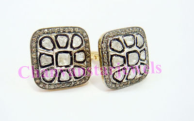 Vintage Repro.2.62Ct Rose Cut/Polky Diamond Sterling Silver Party Cufflink CSJ22