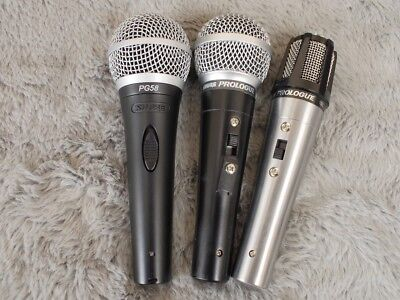 3 x Shure microphones PG58 Prologue 14L and 10L for sale as one lot No Reserve