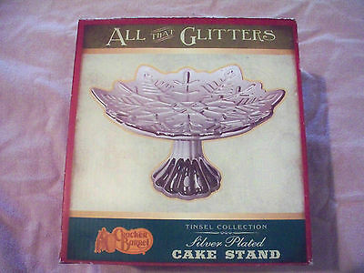 All That Glitters Cracker Barrel Silver Plated Holiday Cake Stand Tinsel Collect