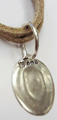 Solid sterling 925 silver hallmarked vintage 1928 spoon pendant necklace