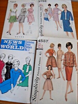 Job Lot of 4 Vintage 1950/60's Ladies Clothing Sewing Patterns Sizes 14 16 18