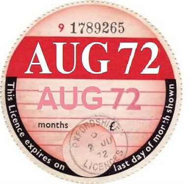 Aug 72 1972 classic car tax disc just fill in the details other years available