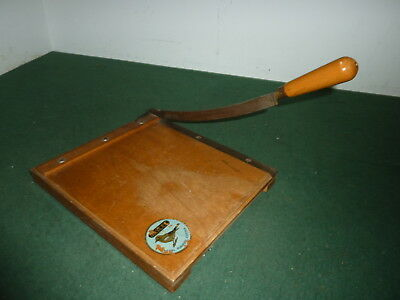 """Vintage 1950's 9"""" Jaycee Guillotine Paper Cutter on Wooden Base"""