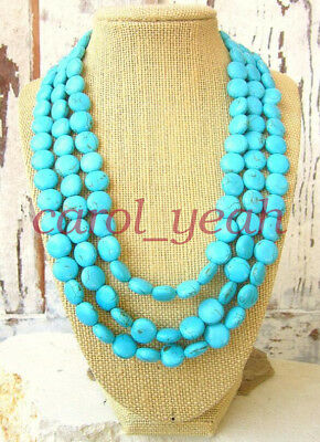 Bohemian women Triple Strand Turquoise Necklace Bib Necklace Festival gifts