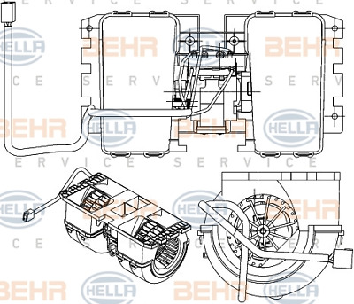 Heater Blower Fan - Hella 8EW 351 042-711