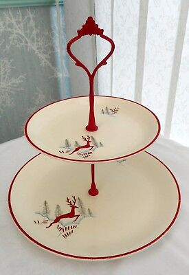 Crown Devon Stockholm 2 tier cake stand with red handle. Leaping deer