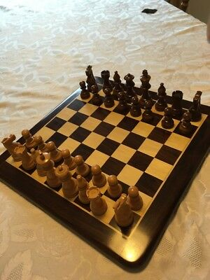 Traditional  Hand Crafted Chess Set.  Plus Board. Immaculate Condition