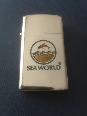 Vintage Slim Chrome 1975 SEA WORLD Advertising Zippo Lighter Very Rare