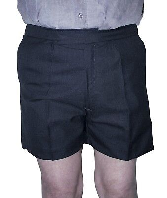 Boys Elastic Back Mid Thigh Dark Grey School Shorts Fully Lined 32 34 Inch Waist