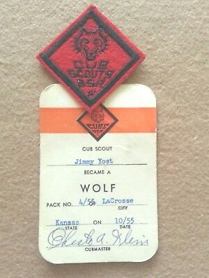 Vintage Cub Scout Wolf Felt Patch&Award Card-Mint-Serious Collector Item A00589