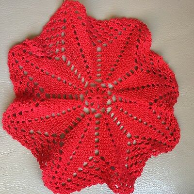 Vintage Mid Century Red Danish Hand Crochet Red Cotton Table Centrepiece Xmas