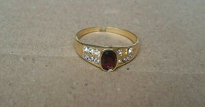 Gold Coloured Ring w/Marcasite Detail,Missing Gem, Size R, House Clearance (B32)