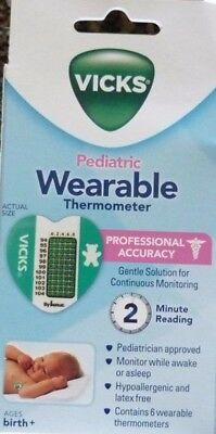 Vicks Pediatric Wearable Thermometer, 6 Thermometers, Ages Birth +