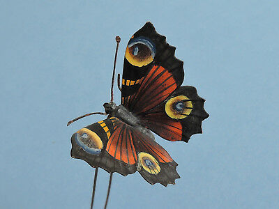 Austrian Cold Painted Bronze Peacock Butterfly En Tremblant Hair Ornament c1900