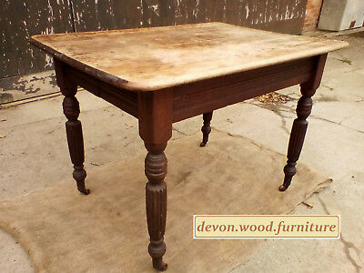 Antique - Victorian Oak Extending Dining Table on Casters