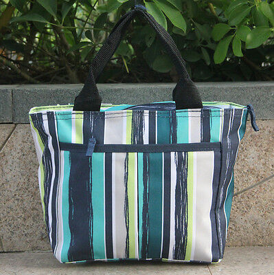 Thirty one 31gifts women handbag Green strips Lunch bag Canvas tote Cosmetic Bag