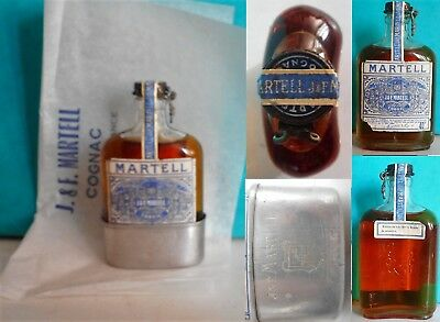 Mini Bottle Cognac Martell Flask *** Old With Paper 10 Cl Miniature
