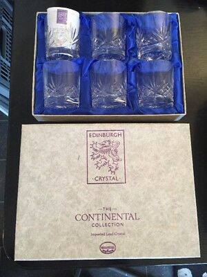 6 Edinburgh Crystal Whiskey Glasses - The Continental Collection