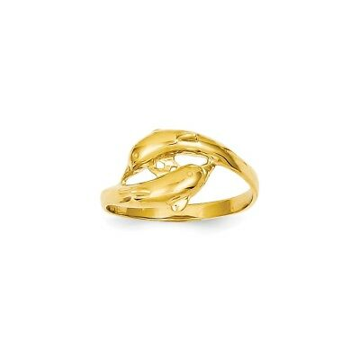 14k Yellow Gold Double Dolphins Ring - K4552