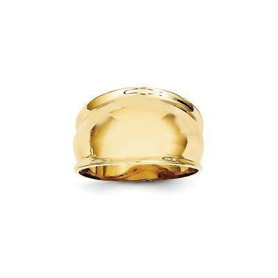 14k Yellow Gold Ridge-edged Dome Ring - K4631