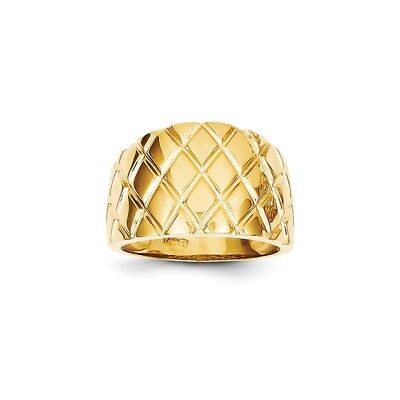 14k Yellow Gold Marquise Pattern Dome Ring - K4643