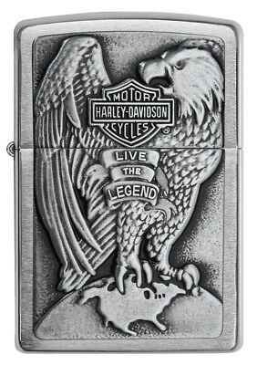 Zippo 200HD.H231, Harley Davidson, Emblem, Brushed Chrome Lighter, Full Size