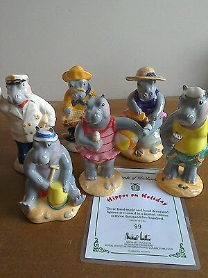 Beswick Hippos on Holiday, limited edition set of 6, mint condition