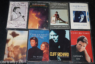 Job Lot Cassettes 8 x Cliff Richard VG condition 4 Albums / 4 Singles all listed