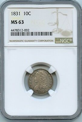 1831 NGC MS63 Capped Bust Dime,Choice ORIGINAL Coin-Pristene slab
