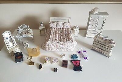 dolls house shabby chic bedroom furniture 1:12