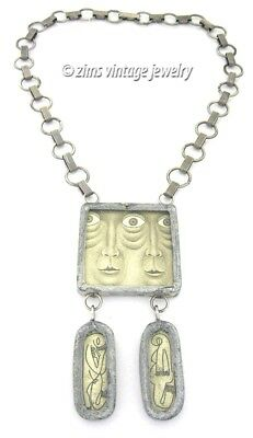 Vintage UNUSUAL Artisan abstract figural FACE outsider Folk art Silver NECKLACE