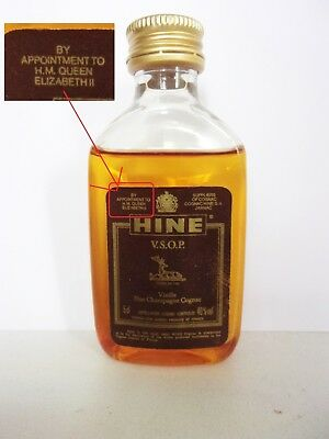 Mini Bottle Cognac Hine Vsop For Queen Elisabeth 5 Cl Miniature