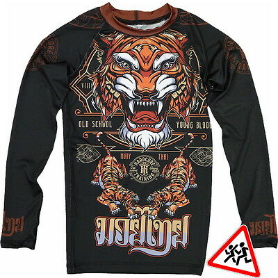Kids Rashguard Hardcore Training Tiger Niño Compresión superior MMA Fitness