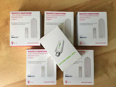 5x Telekom Smart Home Fensterkontakt Magnetisch +ZigBee Stick Magenta Homematic
