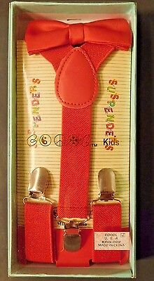 Coool Suspenders with matching bow tie for little KIDS color red