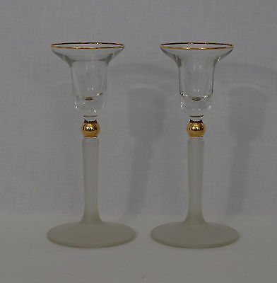 Pair of Glass Candlestick Holders Frosted Stem Clear Top Goldtone Detail