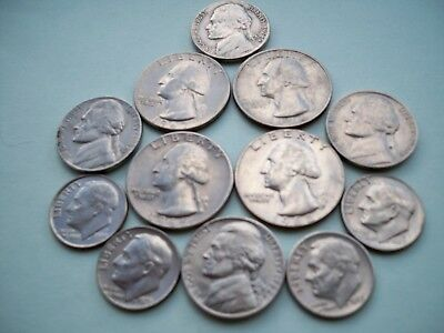A Group Of Twelve American Coins As Shown In Circulated Condition.