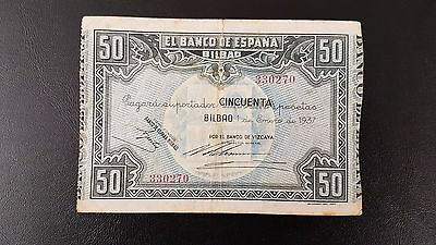 B-D-M España Spain Civil War Bilbao 50 pesetas 1937 Pick s564f