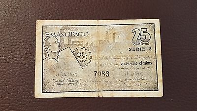 B-D-M España billete local Granollers 25 céntimos 1937 BC F