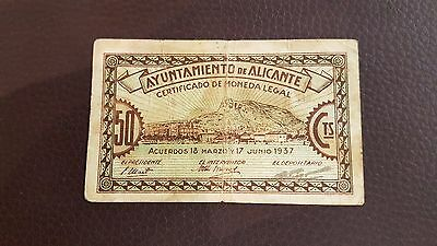 B-D-M España billete local Alicante 50 céntimos 1937 BC F