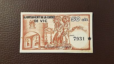 B-D-M España billete local Vic 50 céntimos 1937 SC- aUNC
