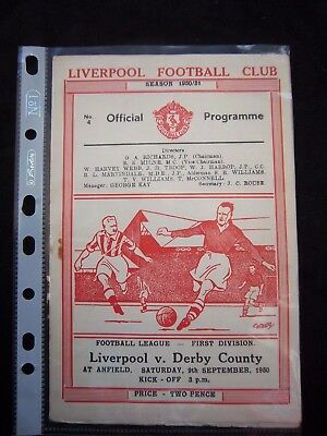 LIVERPOOL FC - DERBY COUNTY   1950/51   Division 1  // Orig.Programme  !!  RARE