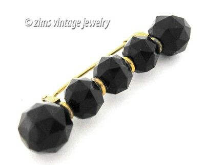Antique VICTORIAN Mourning faceted French jet BLACK crystal Ball gold bar PIN