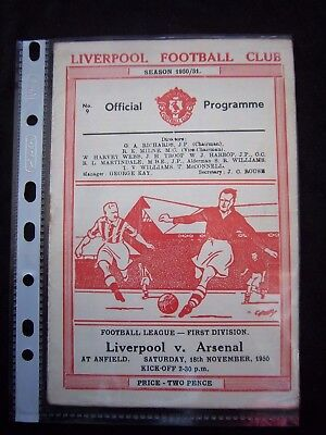 LIVERPOOL FC - ARSENAL FC  1950/51   Division 1  // Orig.Programme  !!  RARE