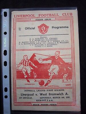 LIVERPOOL FC - WEST BROMWICH ALBION  1950/51   Division 1  // Orig.Programme  !!