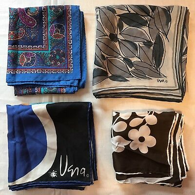 4 Scarves Silk Vera Burmel Silver Leaf Flower Blue Square Scarf Vtg Lot Ladies